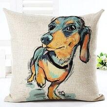 Colourfu terrier cojines dachshund bull painted linen sofa square pillow cushion