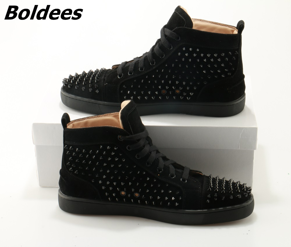 Boldees Tennis Men Sportswear Black Party Shoes Suede Spikes Studded Shoes Men Brand High Top Casual Shoes Flats Sneakers - 2