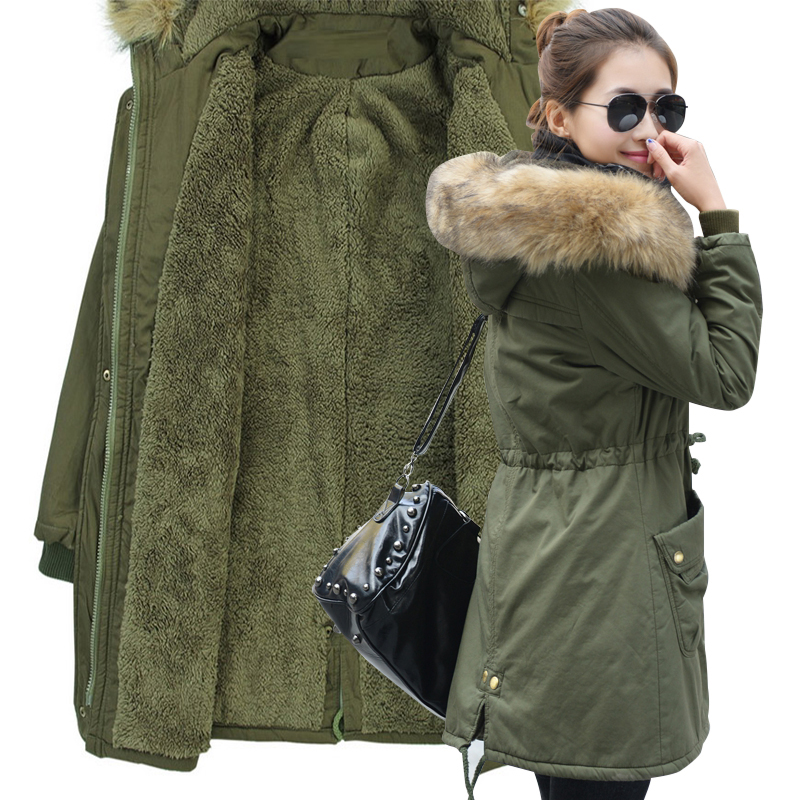2017 New Winter Jacket Women Faux Fur Coat With Hood Winter Jacket Thicken Solid Female Military Long Parka Abrigos Plus Size 2015 new noble leopard blending retro long leather fur jacket women s contrast color stitching faux fur coat female h1530
