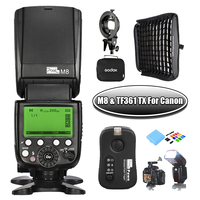 Pixel M8 LCD Wireless Flash Speedlite with TF 361 Flash Trigger For Canon 1100D 750D 650D 600D 550D & Godox 60cm x 60cm Softbox