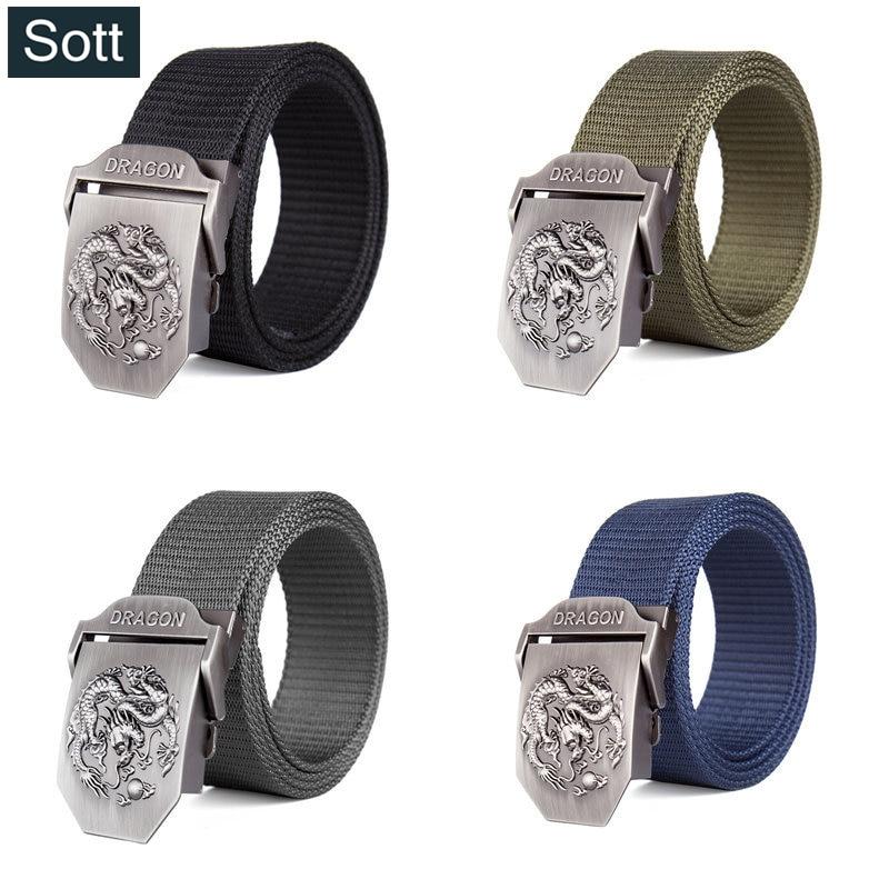 SOTT  2018 Casual aleación Mental hebilla de punto cinturones para hombres  tejido elástico cinturón d91307e54ec