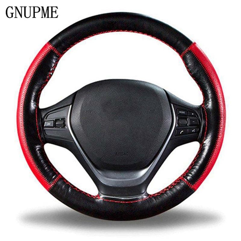 DIY trenza en el volante funda de volante de cuero genuino suave 38 cm fundas de dirección universales con aguja y hilo de rosca