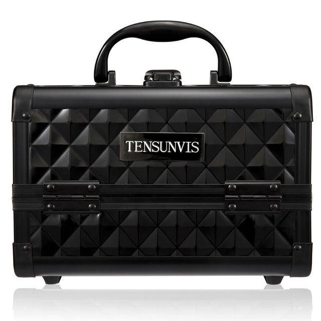 TENSUNVIS Aluminium Beauty Case Pink Cosmetic Case with mirror Makeup Box (24 x 19 x 17)