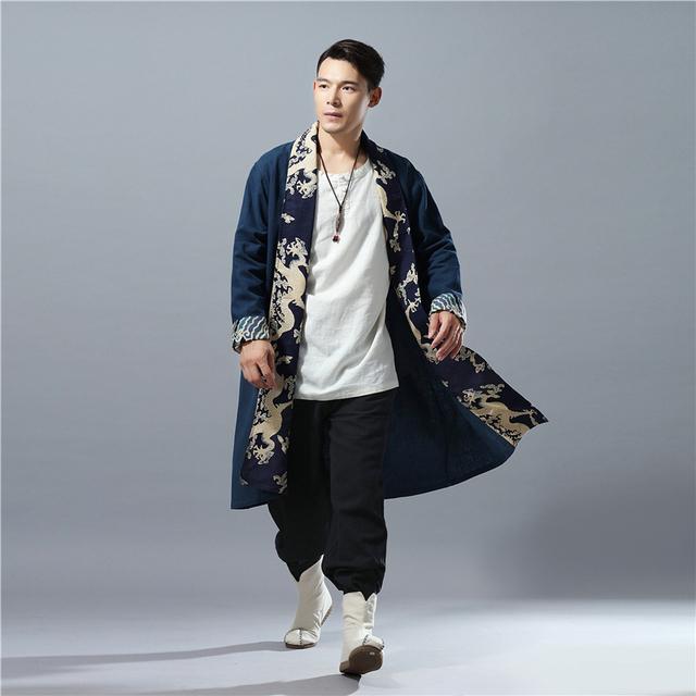 LZJN 2018 Autumn Long Coat Men Capes Chinese Dragon Patchwork Linen Kimono Cardigan Loose Windbreaker Male Overcoat Trenchcoat