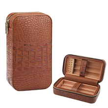 COHIBA Portable Humidor Cigar Box Cedar Wood Leather Case Travel Accessories with Humidifier
