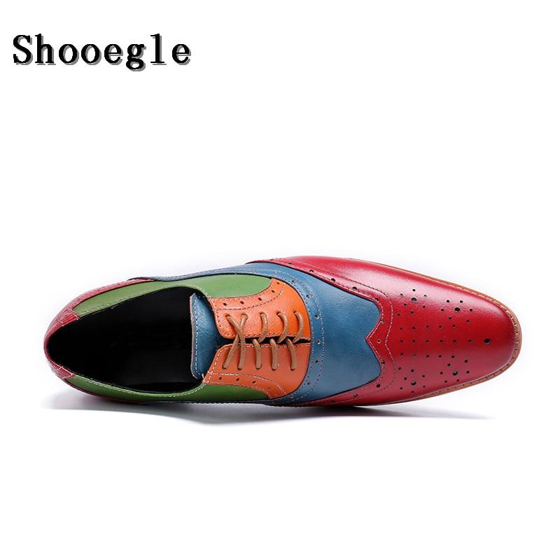 SHOOEGLE/Новинка; мужские лоскутные оксфорды; роскошные кожаные свадебные модельные туфли; Мужские броги с перфорированным носком; обувь для банкета; лоферы в деловом стиле - 4