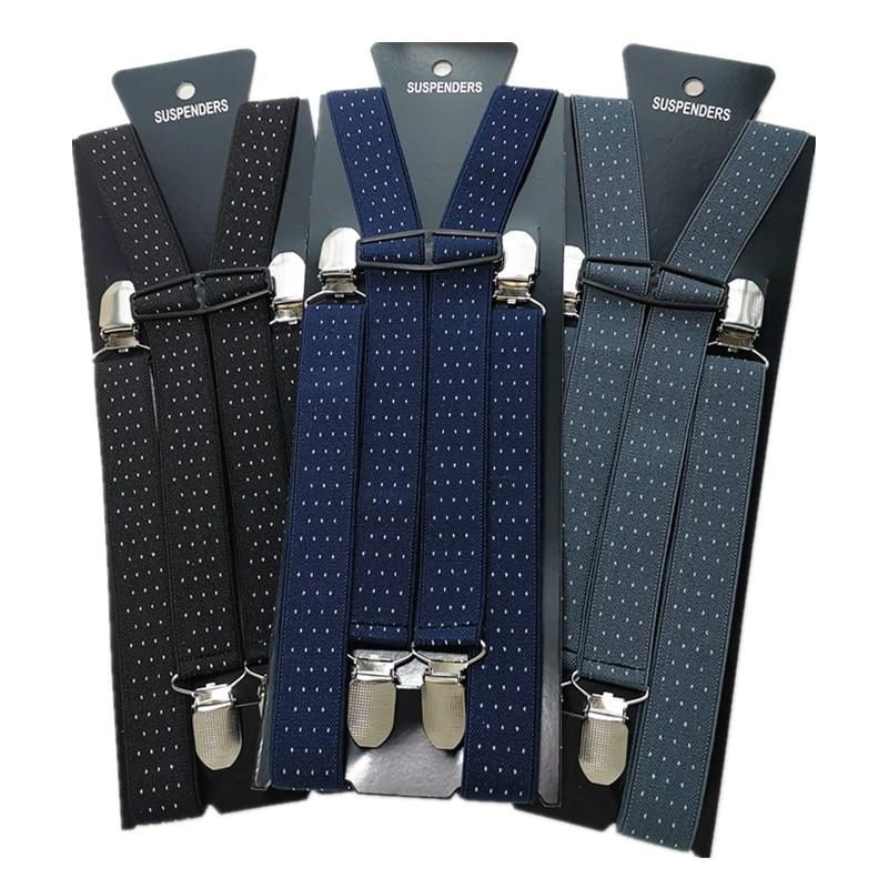 Adult Dot Jacquard Suspenders Men Women Elastic Adjustable Suspensorio Braces Kids Children Party Wear Match Shirt BD040