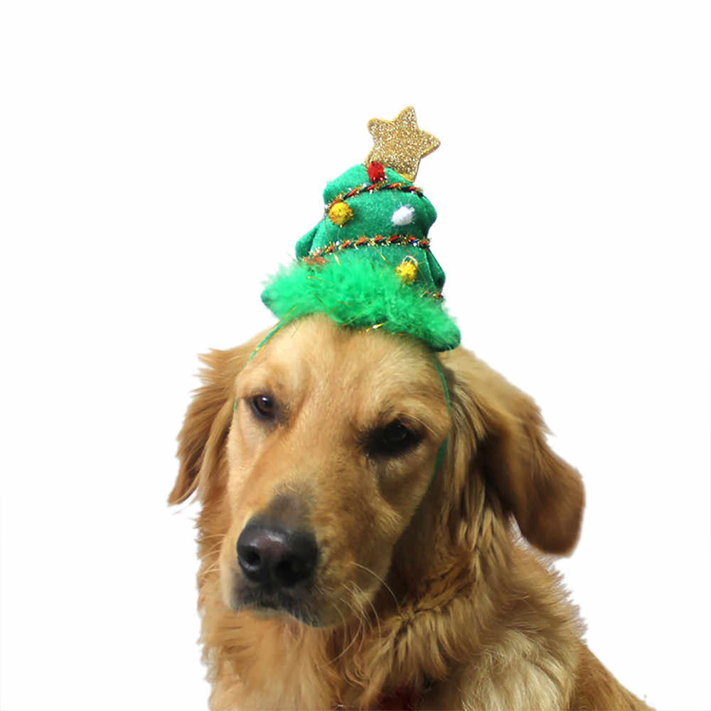 Creative christmas dog hat Green Tree Headband Pet Dogs Cats Adjustable Hat Cosplay Party Gift christmas dog costume
