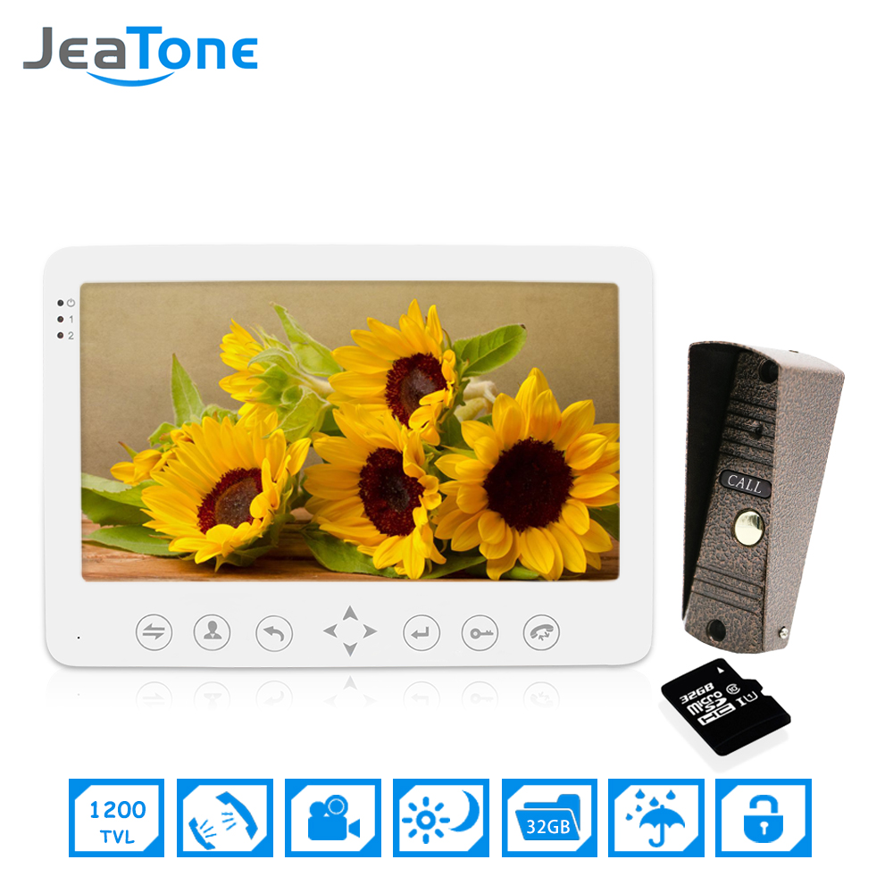 1 Doorphone camera to 1 Monitor + 32G SD Card 7 inch Home Security Intercom Kit Video Door Phone Doorbell Intercom JeaTone jeatone 7 inch video door phone doorbell intercom with 600tvl outdoor camera ip65 on door video intercom security system 4 wired