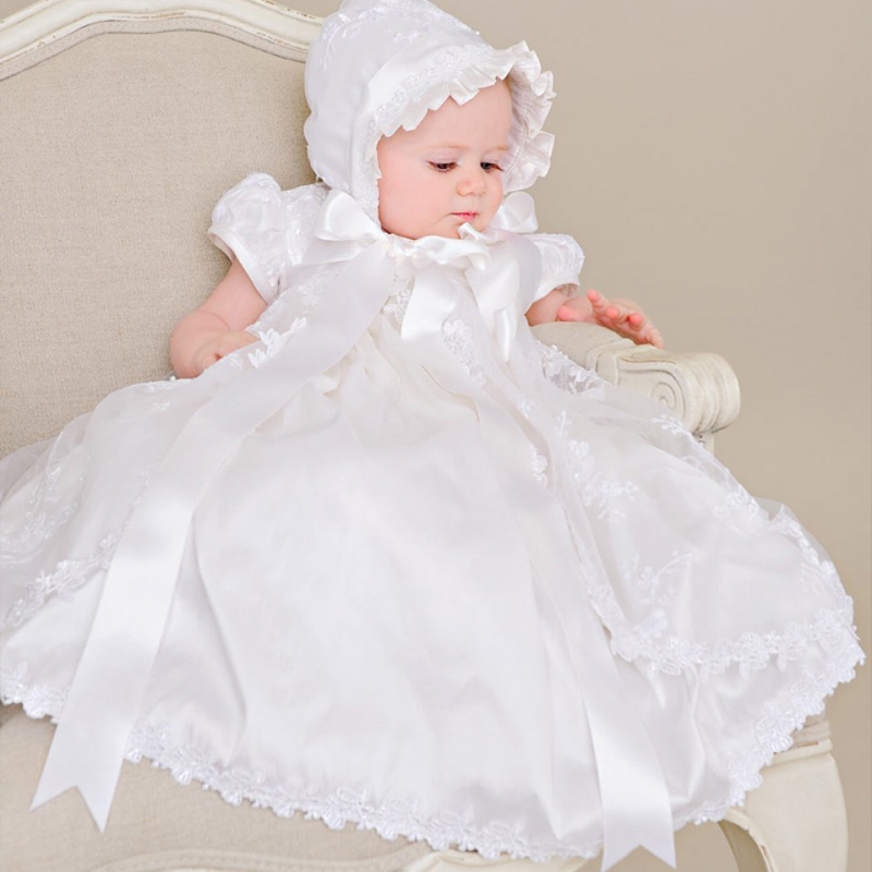 With Hat First Communion Dress Vintage Short Sleeves Applique Baby Girl Baptism Christening Dresses White Beige Baptism Bow Gown