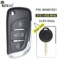 KEYECU 315MHz/ 433MHz P/N: MN901621 Upgraded Flip 2 3 Button Remote Key Fob for Mitsubishi Colt Cabriolet Smart 454 Forfour