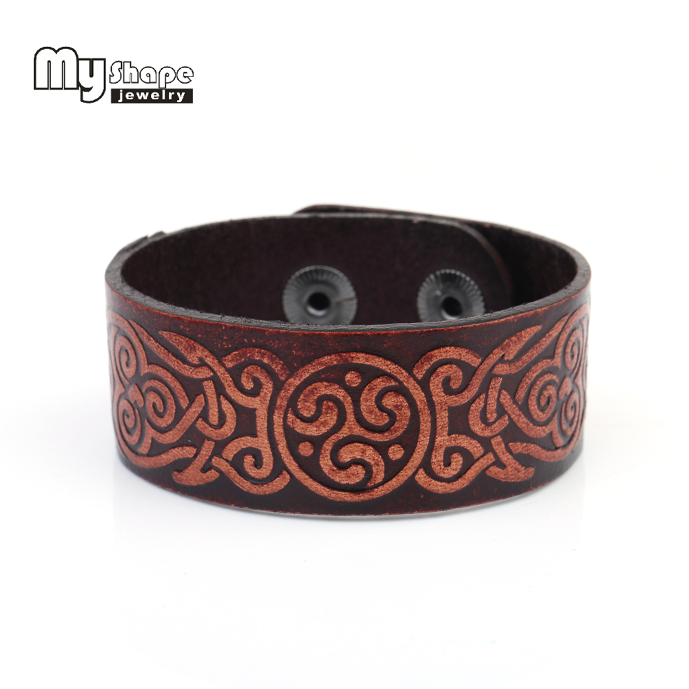 my shape Leather Bracelet Women Men Jewelry Chinese Auspicious clouds Totem Double Safety Snap Jewelry Warp Waist skin-friendly