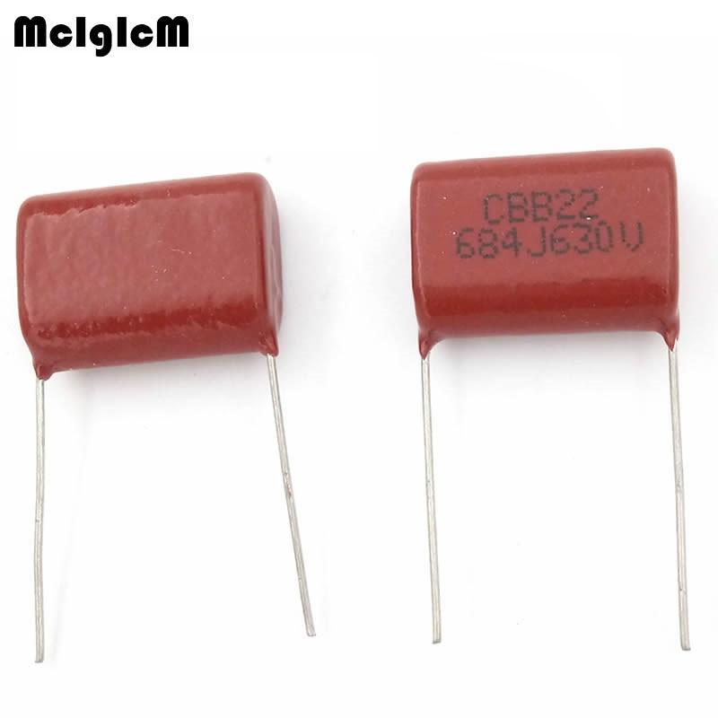 MCIGICM 500 pcs 684 680nF 630V 10pcs CBB Polypropylene film capacitor pitch 22mm 684 680nF 630V