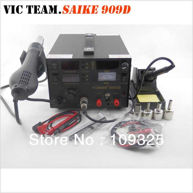 S001 saike 909D rework station hot air gun soldering station with power 3 in 1 220V or 110V 700W