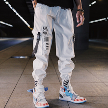 Men cargo pants 2019 new arrival spring and autumn hip hop loose pockets male ankle-length black white Korean style n09