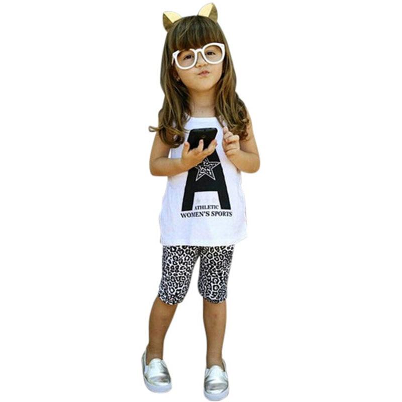 2PCS Summer New Toddler Kids Girls Vest Soft T-shirt Tops Leopard Pants Outfits Clothes 2-7Y