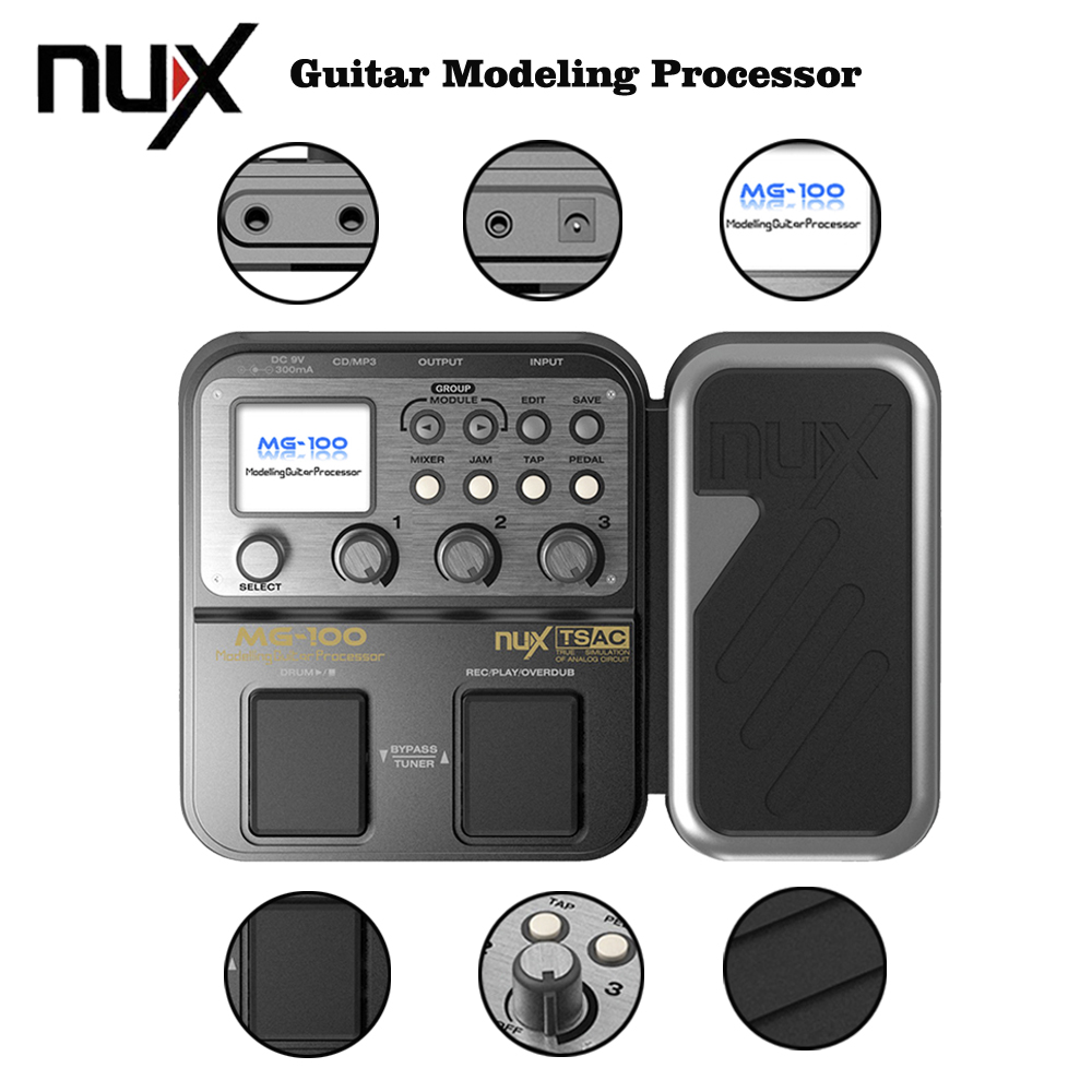 NUX MG-100 Multi-Function 58 Effect 72 Preset Electric Guitar Modeling Effect Pedal Processor With Power Adapter nux mg 20 electric guitar multi effects pedal guitarra modeling processor with drum machine eu plug