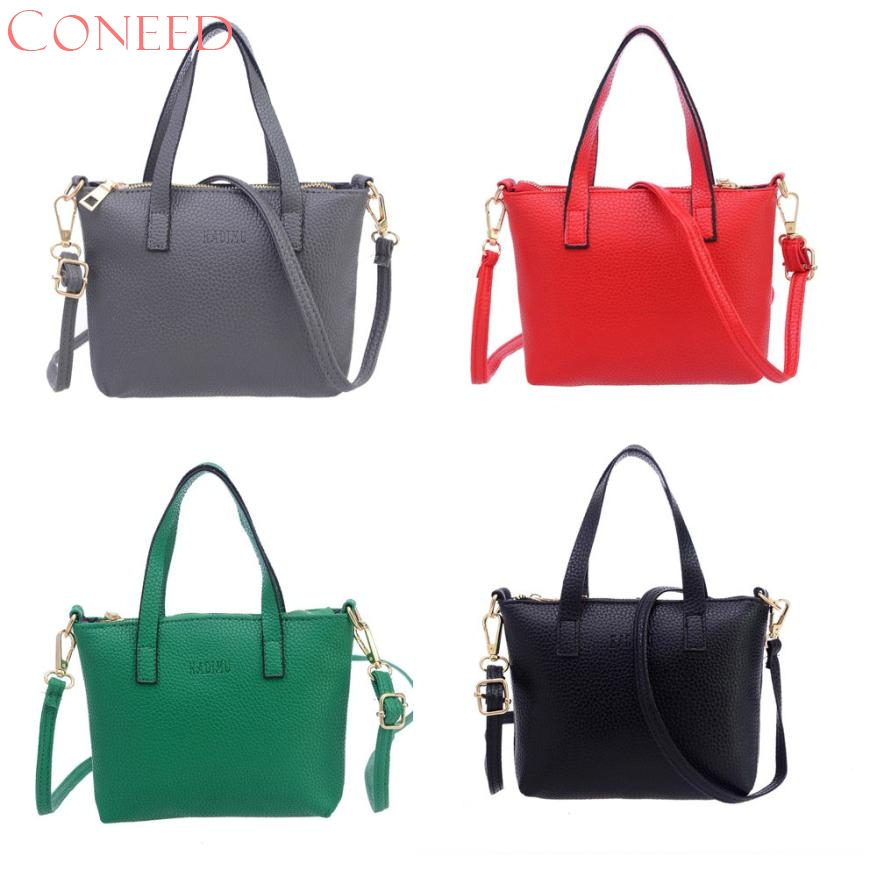 CONEED Women Fashion Handbag Shoulder Bag Tote Ladies Purse PU Leather Colorful Designer Handbag Sep7 R30 women fashion tassel pu leather handbag shoulder bag small tote ladies purse comfystyle