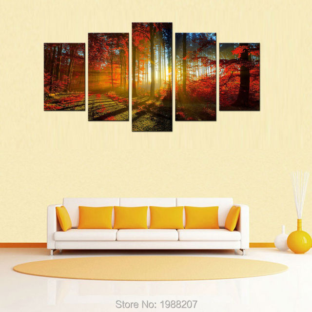 5 Picture Beautiful Autumn Maple Canvas Paintings Landscape Wall Art ...