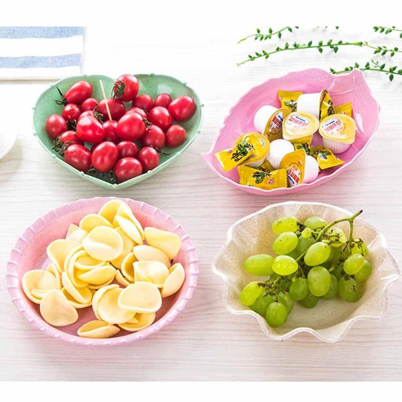 1PC Leaf Heart Shape Fruit Snack Sauce Bowl Kids Feed Food Icecream Container Tableware Dinner Plates S2
