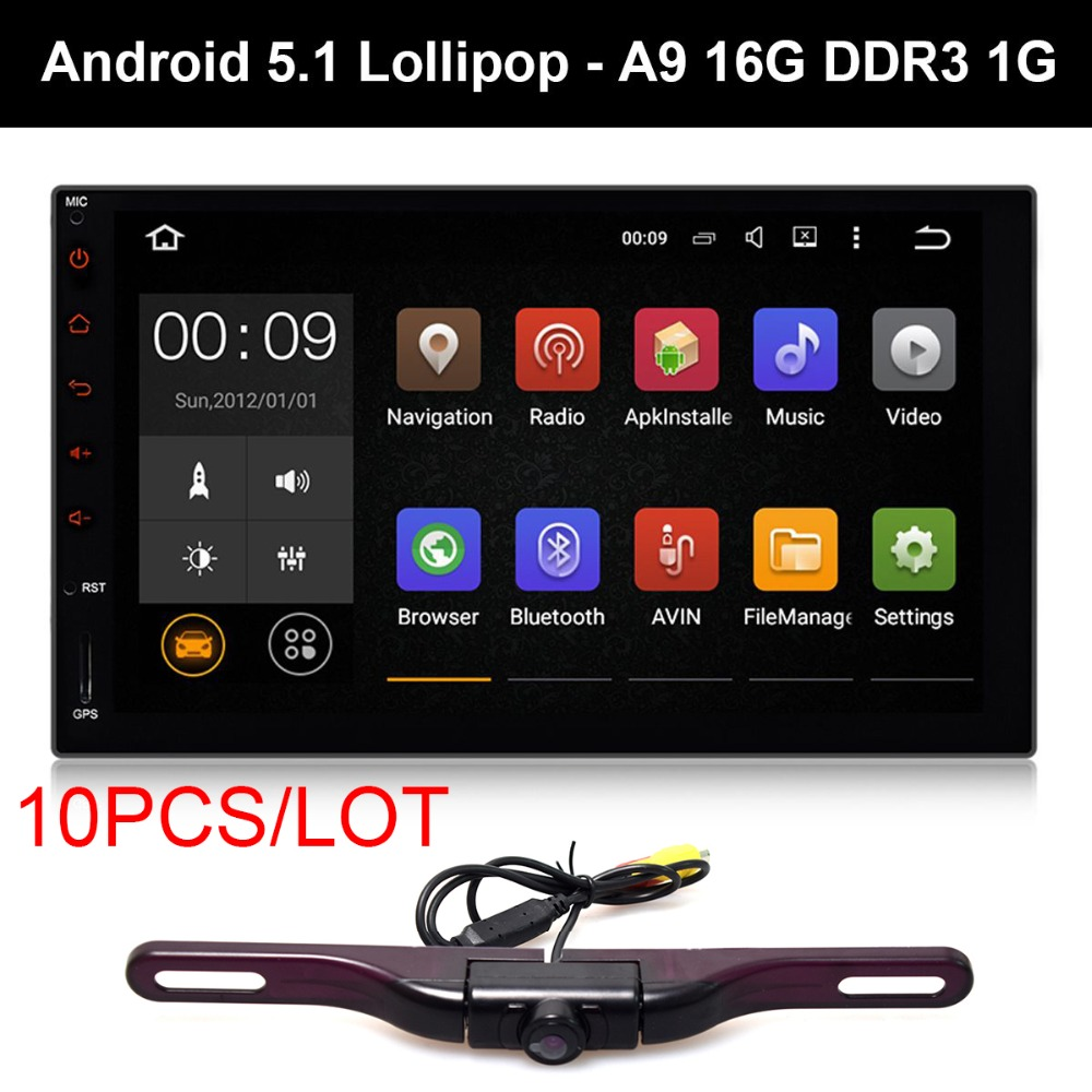 10pcs 7Android 5.1 Lollipop Car Pad Tablet PC 2 Din Auto GPS Entertainment Dash Radio Stereo A9 Quad Core DDR3 1G Backup Camera
