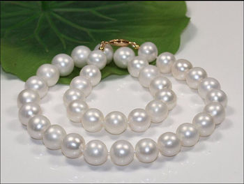 "HUGE 18""11-12 MM SOUTH SEA GENUINE PERFECT ROUND AAA WHITE PEARL NECKLACE 14"