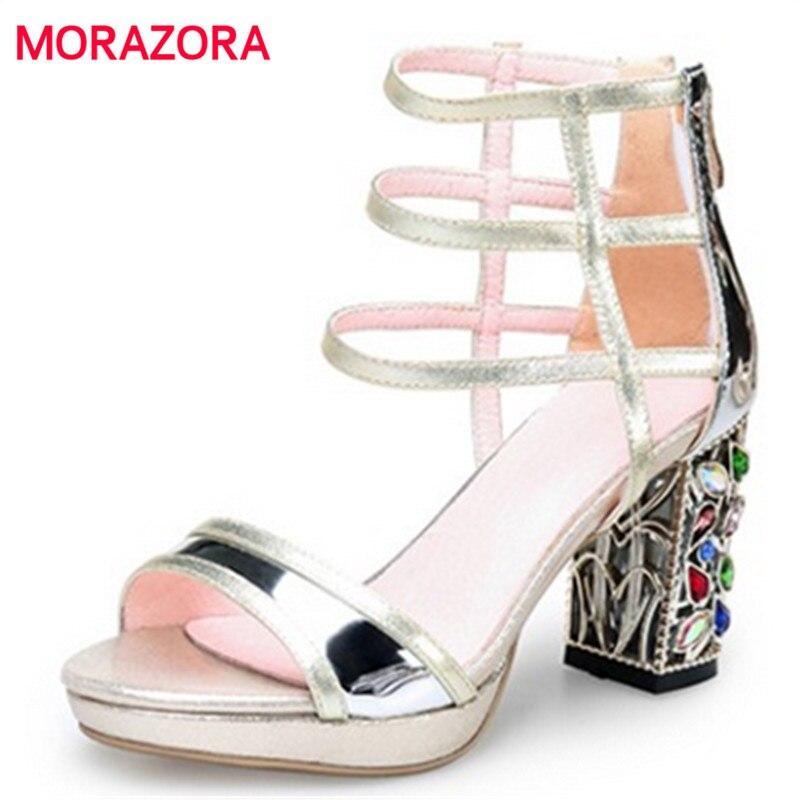 1660f0cdc489 MORAZORA High quality genuine leather women sandals 8cm square high heels  rhinestone wedding shoes woman summer