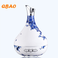 300ML Ultrasonic Air Humidifier Automatic Sensor Blue White Porcelain Vase Essential Oil