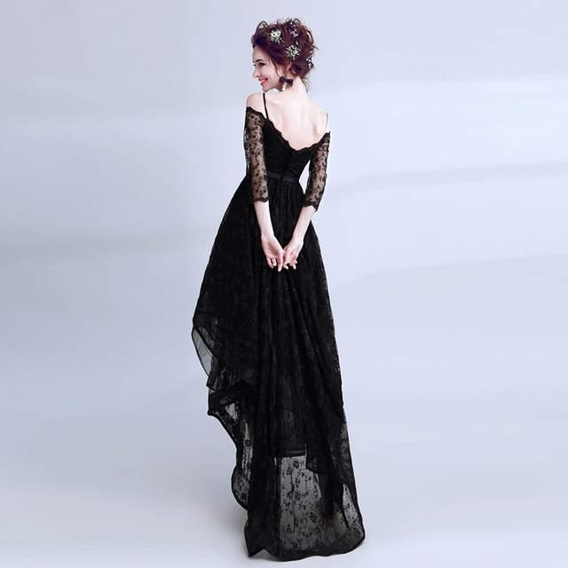 placeholder SOCCI Weekend Little Black Evening Dress 2018 Black Lace Off  Shoulder High Low Formal Prom a5606ffb672f