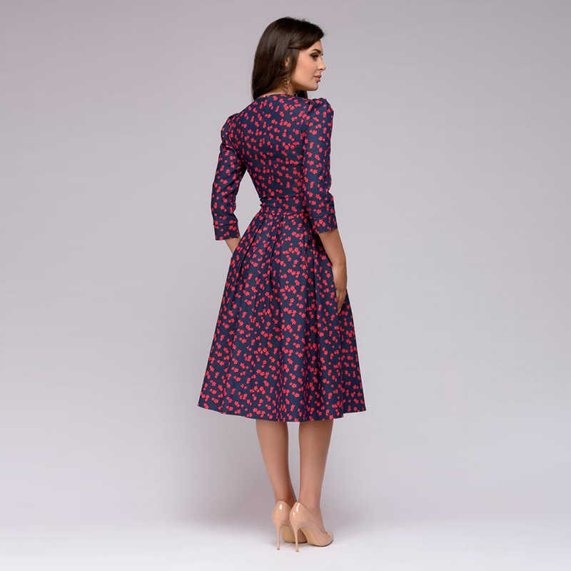 720156222a92 ... Women's Floral Print A-Line Midi Dress Vintage High Waist Pleated Three  Quarter Sleeve Dresses ...