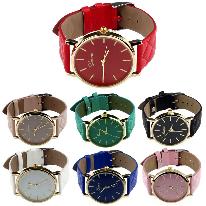 New Unisex Casual Geneva Checkers Faux Leather Quartz Analog naviforce Wrist women watches Classics color Ladies sport Gifts F80 5