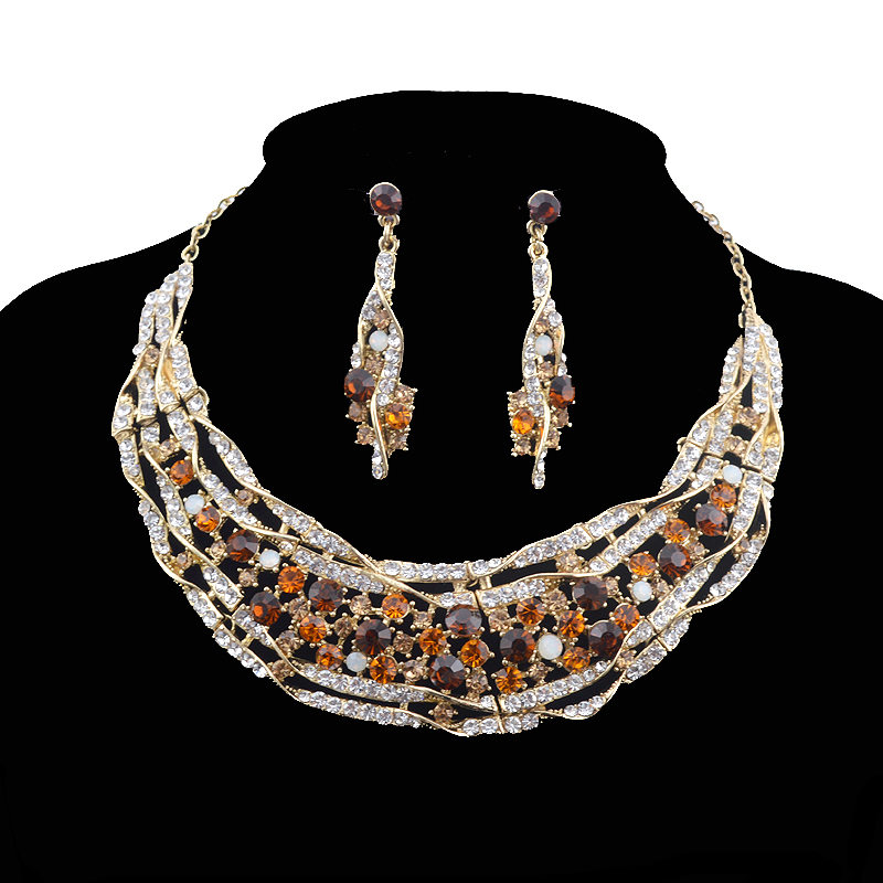 Bridal jewelry sets Wedding necklace earrings set rhinestone brown Color Jewelry Women Christmas Gift  Dress Accessories