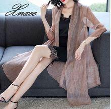 2019 summer new long chiffon sunscreen clothing female shawl coat seven-point sleeve