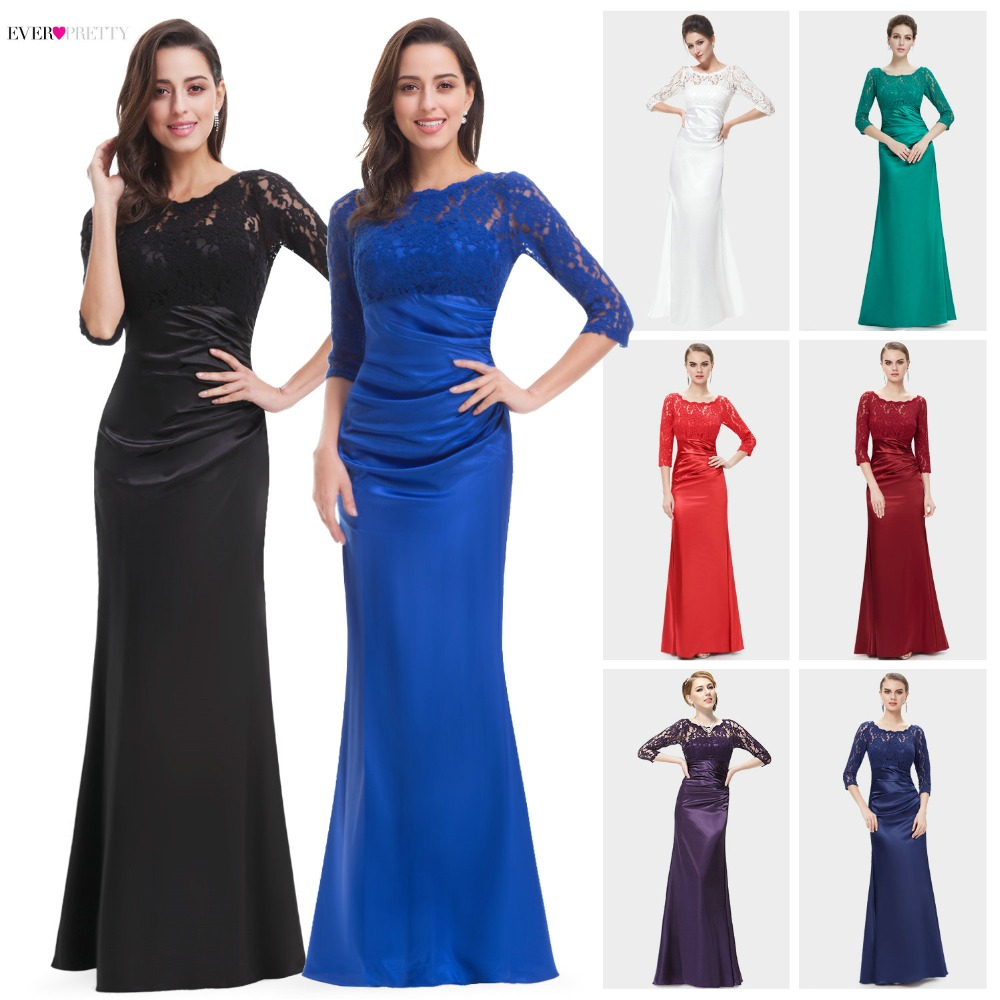Elegant Evening Dresses Lace Women's Long Purple 2020 Black Ever Pretty Floor Length Gown Fast Shipping Sexy Evening Gowns