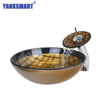YANKSMART Luxury Gold Check Hand Painted Round Tempered Glass Vessel Sink With Waterfall Faucet HS6328 1