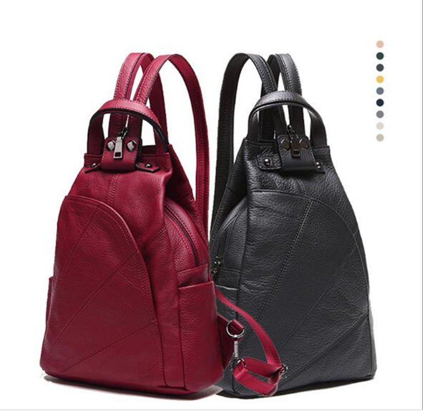 New Arrival Women Genuine Leather S/L Backpacks Black / Red/ Gray/ Blue Simple Style Vintage women backpack for teenager FR641 freestyle revolution new red blue women s size large l junior ikat print shorts