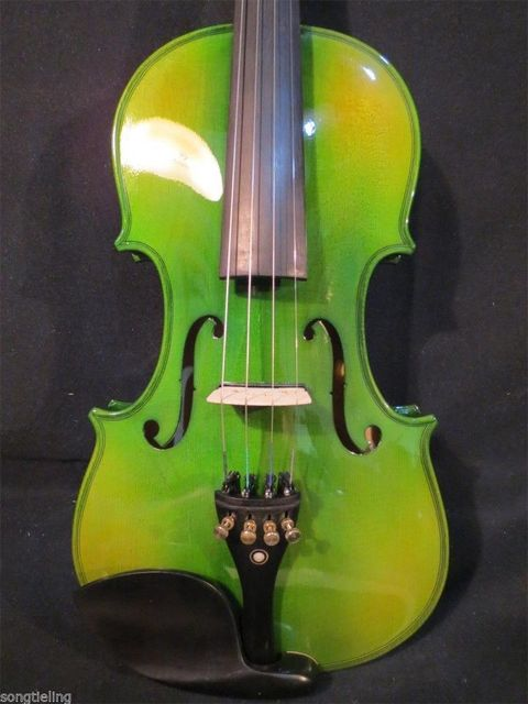 Green Acoustic & Electric Violin 2