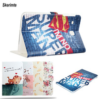 Skerimte Fashion Painted PU Leather Stand Holder Smart Case Cover For SAMSUNG Galaxy Tab E T560