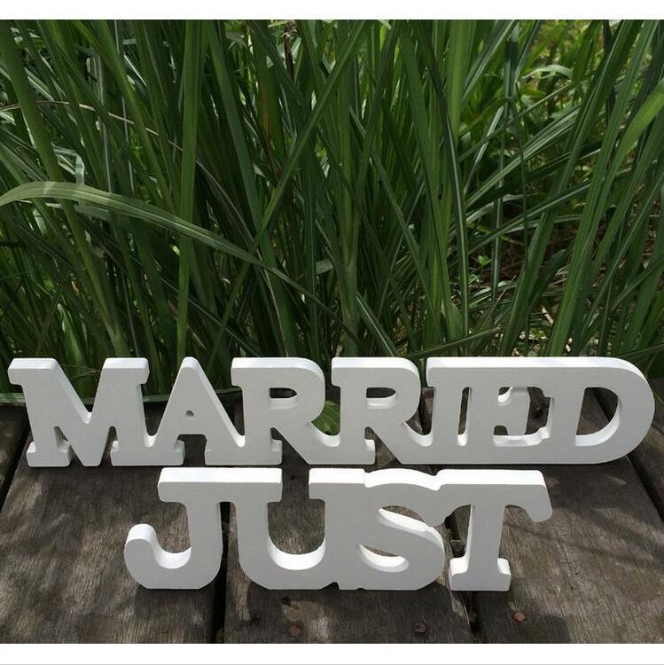 Свадебные украшения Just Married свадьба знак искусственного дерева Деревянный белые буквы ремесла украшения свадьба реквизит фотографии