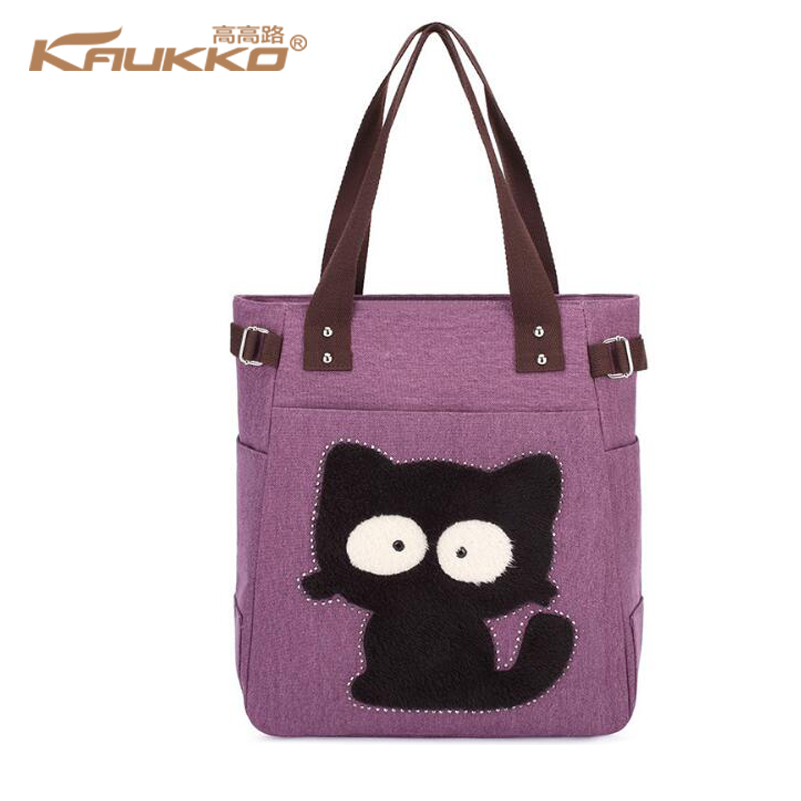 Cartoon Cat Printed Beach Tote Bag Zip Petite Canvas Tote Shopping Handbags Sac Beach Tote Canvas