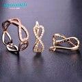 Mechosen doble amor del corazón del perno prisionero anillos conjuntos aros anéis joias brincos ouro princesa ganchos de cobre suave regalos de navidad