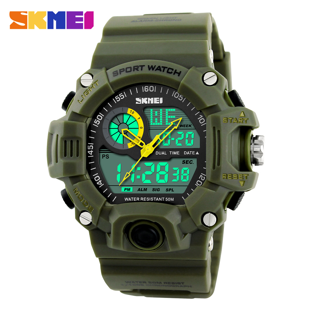SKMEI Male Fashion Sport Military Wristwatches Watches Men Luxury Brand 3ATM 30m Dive LED Digital Analog