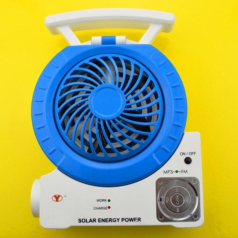 2014 TF carte slot FM radio MP3 téléphone connecter haut-parleur lampe de table spot 7 fonction solaire alimenté ventilateur électrique