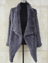 S1494 Women Real Fur Coat is Genuine Rabbit Fur Knitted Long Jacket Winter Lady Warm Fashion Top Quality