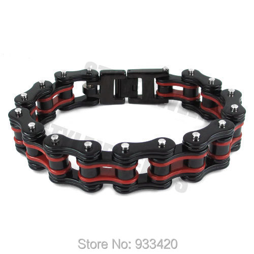 Free shipping! Red & Black Heavy Motor Biker Bracelet Stainless Steel Jewelry Fashion Bicycle Chain Men Bracelet SJB0263