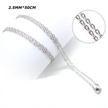 2.5MM silver O chains 50cm stainless steel chain for diffuser perfume locket pendant necklace