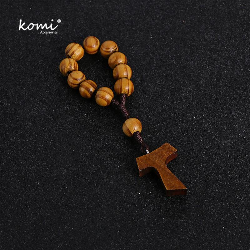 Komi 10mm Wooden Beads Rosary Finger Chain Prayer Bracelet 11pc Beads Bracelets Handmade Religious Jewelry R-070
