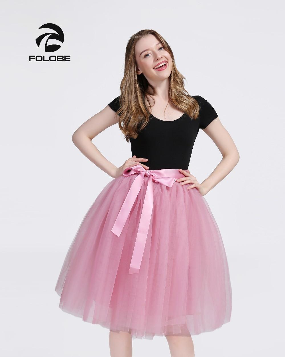 d280d369dd FOLOBE Blush 7 Layers Midi Tulle Skirt Tutu Skirts Womens Petticoat Elastic  Belt faldas saia jupe-in Skirts from Women's Clothing on Aliexpress.com ...