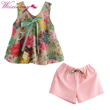 Summer new style Children Girls Bowknot Floral Printed Sleeveless Baby Vest Tops +Shorts Sets For Girls Kids Clothes Outfit Suit conjuntos casuales para niñas