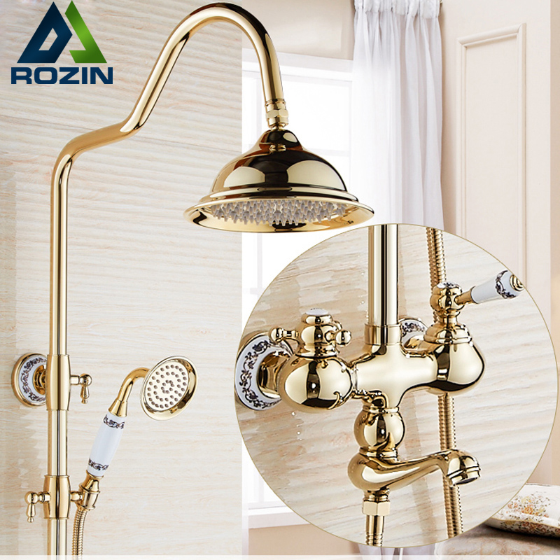 Modern Golden Wall Mount 8 Brass Rain Shower Mixer Set 3-functions with Handshower Tub Shower Faucet kemaidi new modern wall mount shower faucet mixer tap w rain shower head